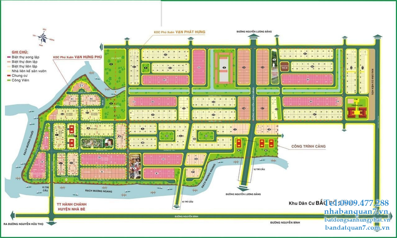 Bản đồ quy hoạch xã Phú Xuân huyện Nhà Bè