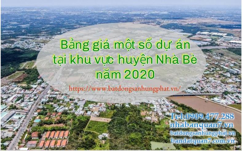 Bảng giá một số dự án tại khu vực huyện Nhà Bè năm 2020